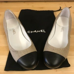 Chanel Linen & Leather Cap Toe Chain Heel Flats
